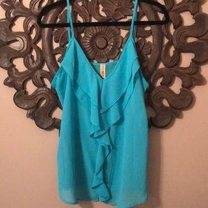 BKE Chiffon Ruffle Front Turquoise Top